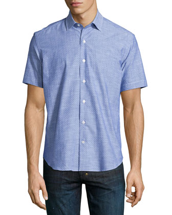 Dot-Print Short-Sleeve Shirt, Blue Pattern
