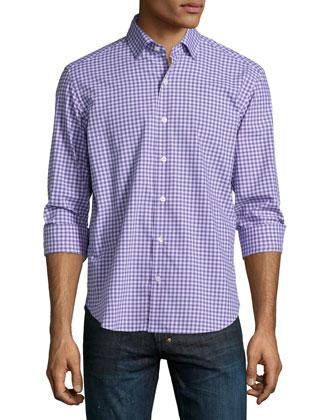 Check Long-Sleeve Woven Shirt, Lilac