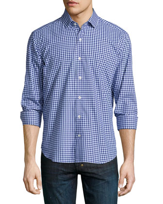 Check Long-Sleeve Woven Shirt, Blue Pattern