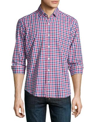 Plaid Woven Long-Sleeve Shirt, Multi