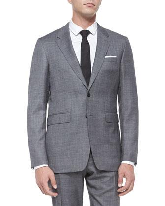 Milbank Sharkskin Wool Two-Piece Suit, Charcoal