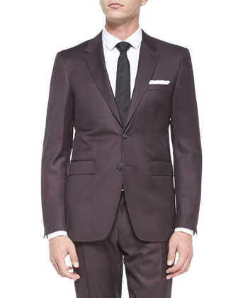 Milbank Check Two-Piece Wool Suit, Burgundy