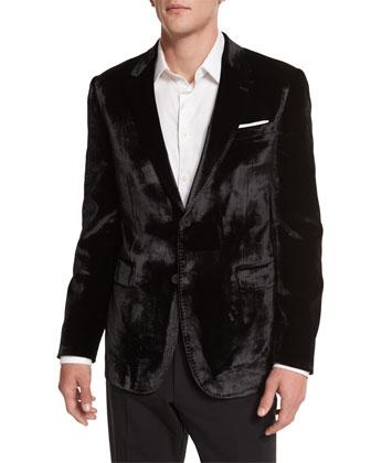 Bayard Liquid Velvet Two-Button Jacket, Black