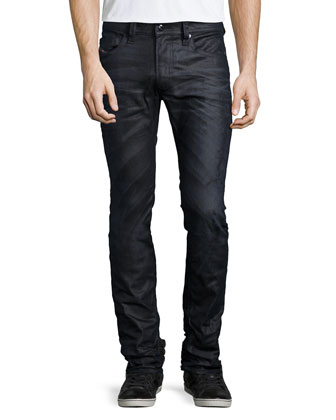 Thavar Tonal Wash Denim Jeans, Dark Blue