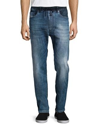 Narrot Reverse-Wash Denim Jeans, Light Blue