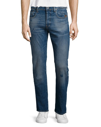 Defend Straight-Leg Stretch Jeans, Blue