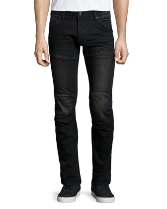 5620 3D Super-Slim Stretch Moto Jeans, Black