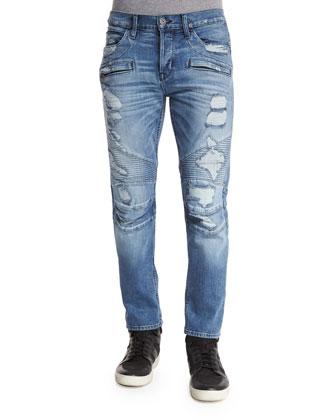 Blinder Biker Distressed Moto Jeans, Blue