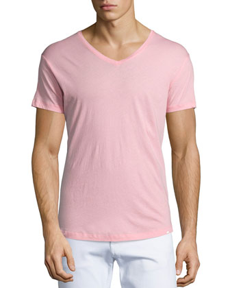 Short-Sleeve Jersey V-Neck Tee, Pink