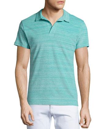 Johnny-Collar Pique Polo Shirt, Aqua