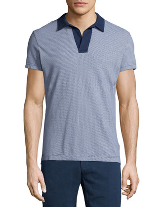 Felix Printed Polo Shirt, Blue Pattern