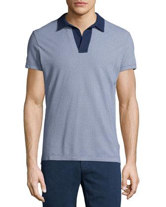 Felix Printed Polo Shirt, Blue Pattern