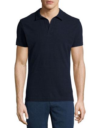 Short-Sleeve Pique Polo Shirt, Navy