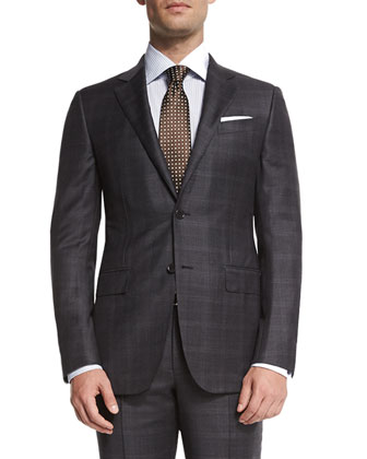 Trofeo Plaid Two-Piece Suit & Solid Long-Sleeve Woven Shirt
