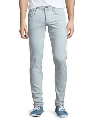 Mini-Plaid Woven Sport Shirt & Bleached Slim-Fit Denim Jeans