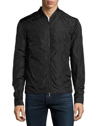 Nylon Zip-Front Jacket, Black