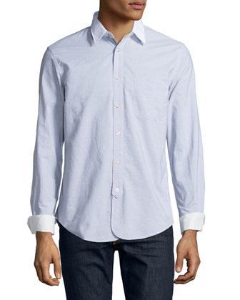 Contrast-Collar Striped Sport Shirt, Dark Gray