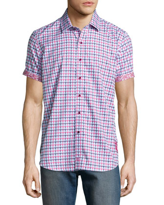 Mini-Check Short-Sleeve Woven Shirt, Bright Red
