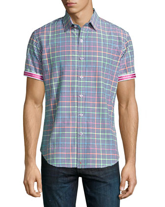 Mini-Check Short-Sleeve Shirt, Multi