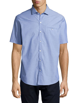 Textured Dobby Short-Sleeve Shirt, Blue