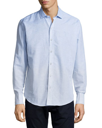 Horizontal-Stripe Woven Long-Sleeve Shirt, Light Blue