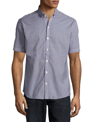 Gingham Short-Sleeve Woven Shirt, Dark Blue