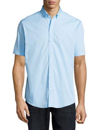 Dot-Print Woven Short-Sleeve Shirt, Blue