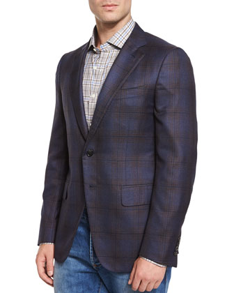 Plaid Two-Button Sport Jacket, Navy/Brown