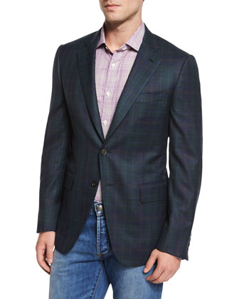 Plaid Two-Button Sport Coat, Green/Navy
