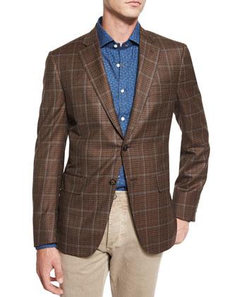 Windowpane-Check Two-Button Sport Coat, Brown