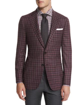 Dustin Check Two-Button Sport Coat, Lavender/Brown