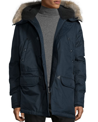Snorkel Coat with Fur-Lined Hood, Navy