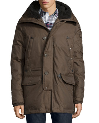 Tech N3-B Snorkel Hooded Coat, Brown