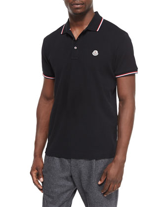 Short-Sleeve Tape-Tipped Polo Shirt, Black
