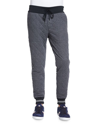 Diamond-Quilted Jogger Pants, Gray
