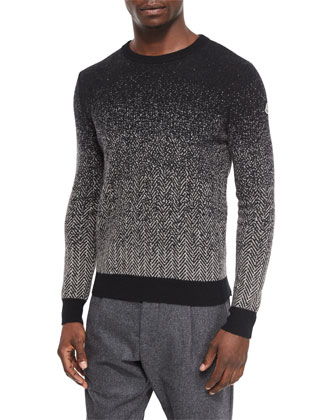 Herringbone Degrade Crewneck Sweater, Black