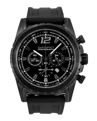 Ibrido Chronograph Watch with Rubber Strap, Black