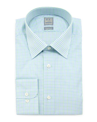 Check Woven Dress Shirt, Green/Blue