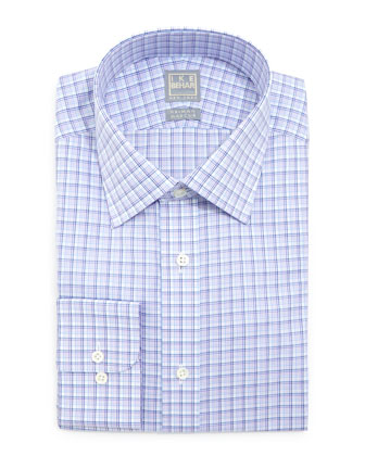 Multi-Check Woven Dress Shirt, Purple