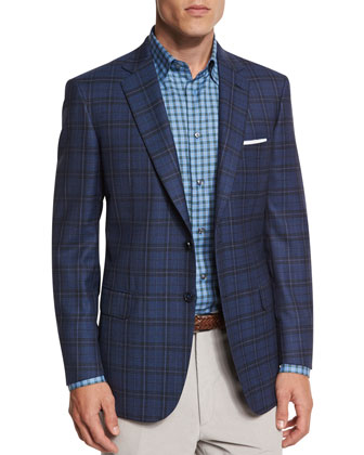 Plaid Two-Button Sport Jacket, Blue
