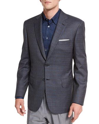 Windowpane-Check Two-Button Sport Jacket, Gray