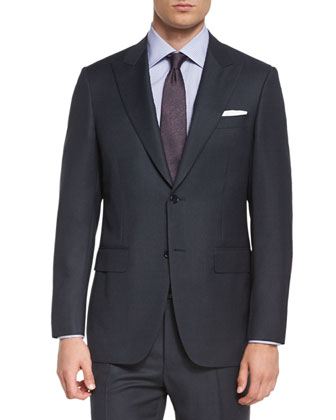 Birdseye Two-Piece Wool Suit, Charcoal
