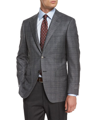 Check Wool-Blend Sport Coat, Gray