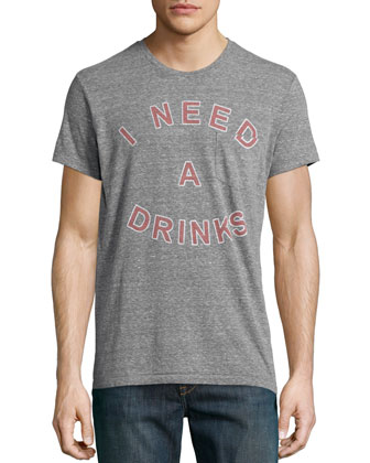 Need Drinks Graphic Jersey Tee, Dark Gray