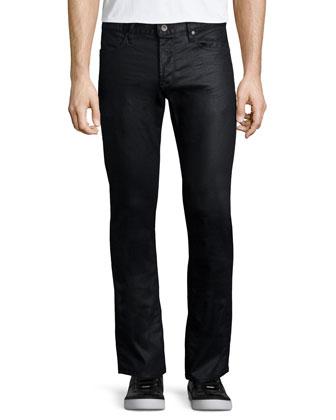 Shiny Straight-Leg Jeans, Navy