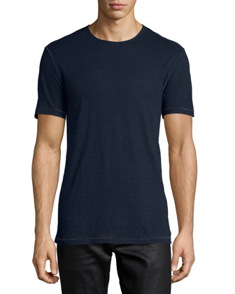 Crewneck Short-Sleeve Knit Tee, Blue
