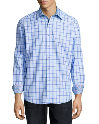 Walkane Plaid Sport Shirt, Blue