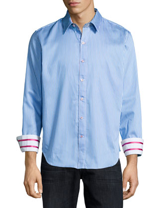 Offshore Striped Woven Sport Shirt, Blue