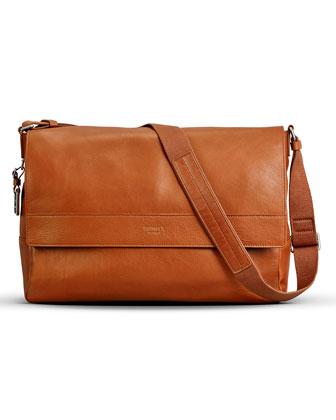East/West Leather Messenger Bag