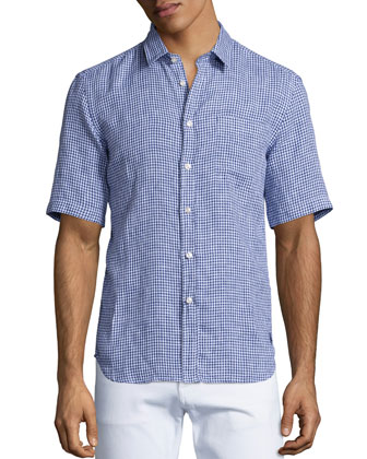 Check Short-Sleeve Linen Shirt, Light Blue